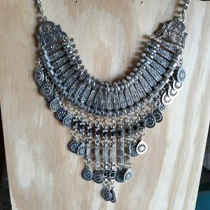 Silver tone Large Statement Necklace